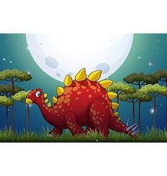 Dinosaur in the field on fullmoon night vector