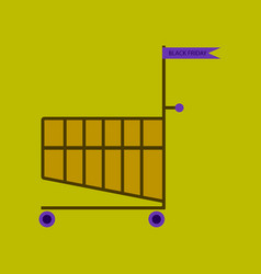 flat icon of shopping cart black friday vector image