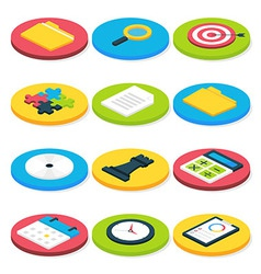 Flat isometric circle business icons set vector