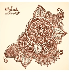 Floral element in mehndi henna tattoo style vector