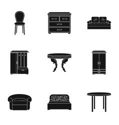 Furniture and home interior set icons in black vector image vector image