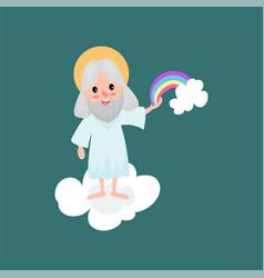 God character creating rainbow vector