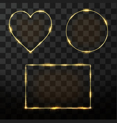 golden frame set with glow effect neon rectangle vector image
