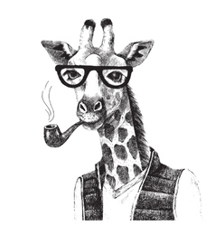 Hand drawn of giraffe hipster vector image