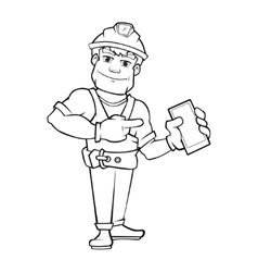 Handyman builder in helmet pointing to the vector image vector image