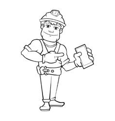 Handyman builder in helmet pointing to the vector