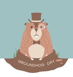 Happy groundhog card background vector