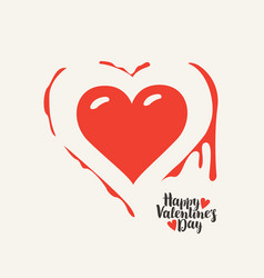 Heart with blood and words happy valentines day vector