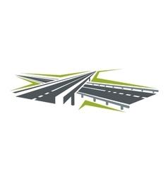 Highway pass under overpass icon vector
