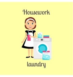 Housekeeper woman doing laundry vector image vector image