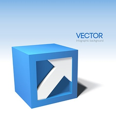 Infographic 3D cube with arrow vector image vector image