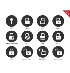 Lock icons on white background vector image vector image