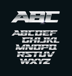 Modern chrome font metallic letters vector
