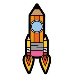 Pencil rocket icon vector