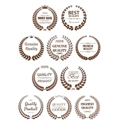 Quality guaranteed laurel wreaths symbols vector
