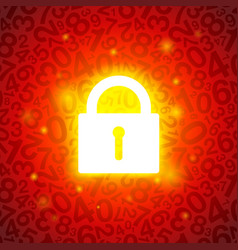 red glowing lock vector image
