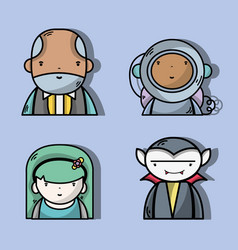 Set businessman with astronaut and vampiere with vector