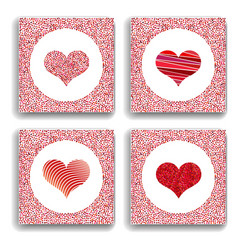 set of four backgrounds with red hearts symbol of vector image vector image