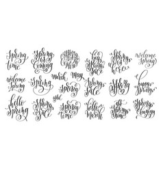 set of spring coming hand written lettering vector image