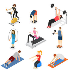 Sport people in gym set isometric view vector