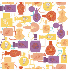 Texture with perfume cosmetic bottle collection vector