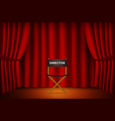 Theater stage with curtain with chair for vector
