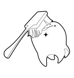 Toothbrush cleans tooth icon outline vector
