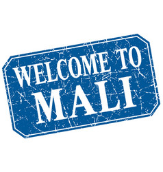 Welcome to mali blue square grunge stamp vector