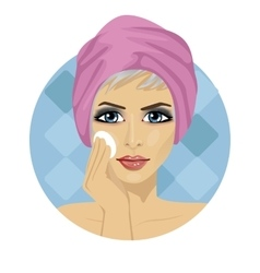 woman cleaning her face with sponge vector image