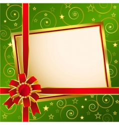 Background with red bow green vector