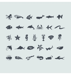 Set of sea animals icons vector