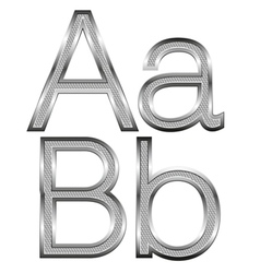 Thin diamond metal letters on white 01 vector