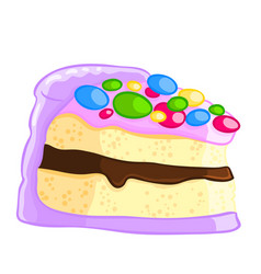 Cartoon icon of a piece of vanilla sponge cake vector