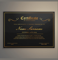 Black and golden certificate of appriciation vector