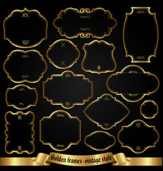 Golden frames in retro style vector