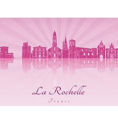 La Rochelle skyline in purple radiant orchid vector image