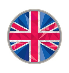 Union jack uk gb flag circle low polygon vector