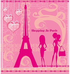 Shopping in paris beautiful pink abstract card vector
