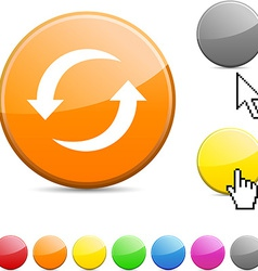 Refresh glossy button vector image