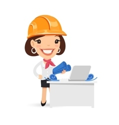 Female architect with blueprints vector