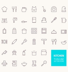 Kitchen outline icons for web and mobile apps vector