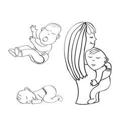 Sleeping child crying baby vector