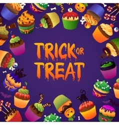 Trick or treat happy halloween greeting card vector