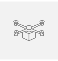 Drone delivering package line icon vector