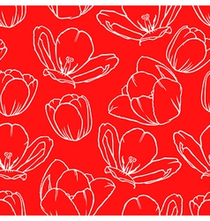 Tulip contour pattern red vector