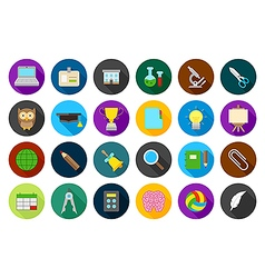 School elements round icons set vector
