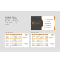 Double-sided business card template with calendar vector