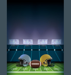 American football field stadium with helmets and vector