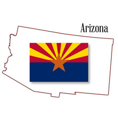 arizona state map and flag vector image vector image