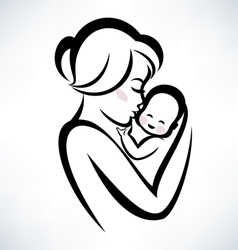 baby and mama vector image